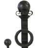 Large-Scale Wrought Iron Firedog Andiron Set w/ Cross Bar