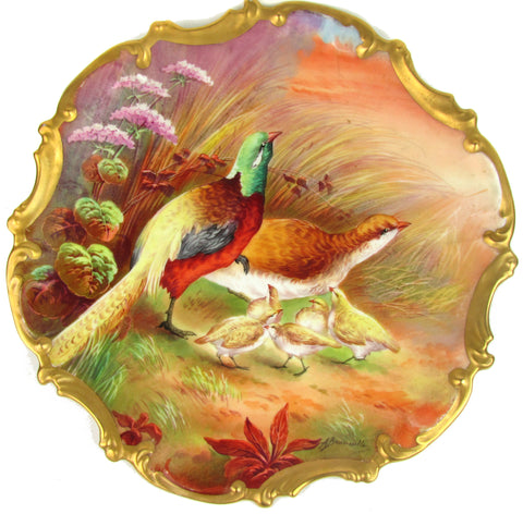 Limoges Hand-Painted Charger Wall Hanging w/ Pheasants