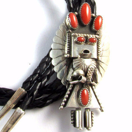 Sterling Silver Kachina Bolo Tie w/ Coral by Denise Smallcanyon