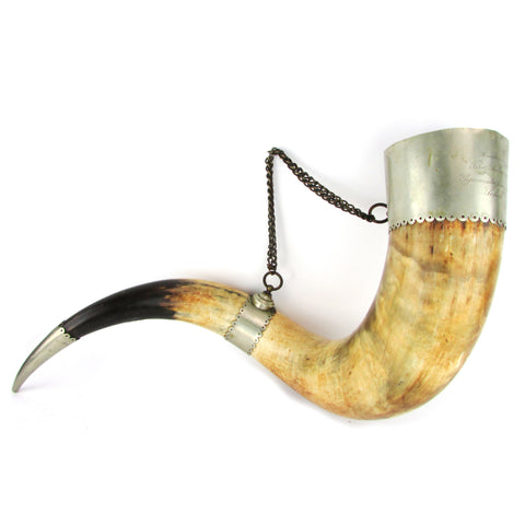 Large German-Silver Mounted Presentation Horn Wall Hanging