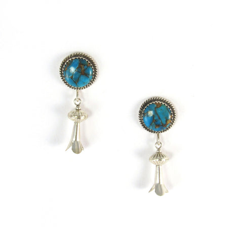 Bisbee Turquoise + Silver Squash Blossom Earrings