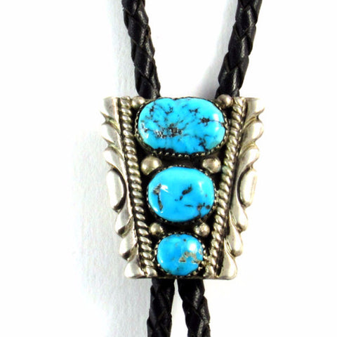 Turquoise + Silver Bolo Tie by RLB