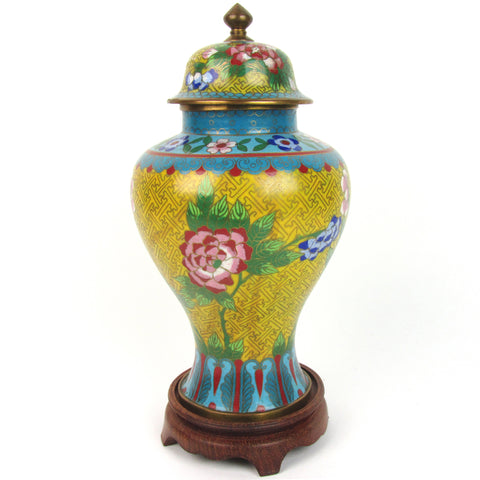Yellow Cloisonne Enamel Vase w/ Lid & Stand