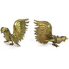 Brass Fighting Roosters, Pair