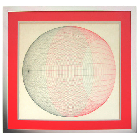 Midcentury Sphere Drawing in Pink & Gray Colored Pencil