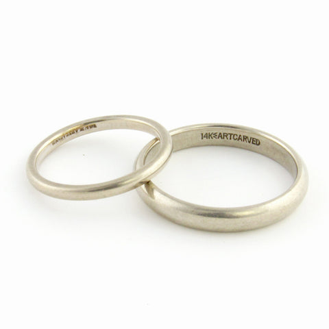 14k White Gold His + Her Wedding Set