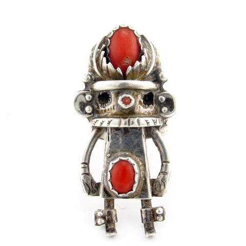 Large Kachina Ring with Coral