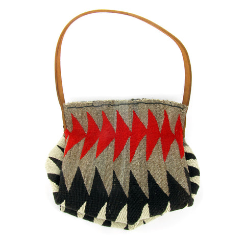 Red, Black, Grey and Cream Antique Navajo Rug Bag
