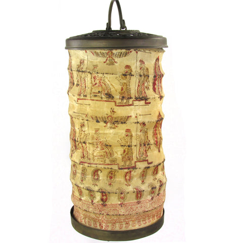Assyrian Revival Painted Canvas Lantern