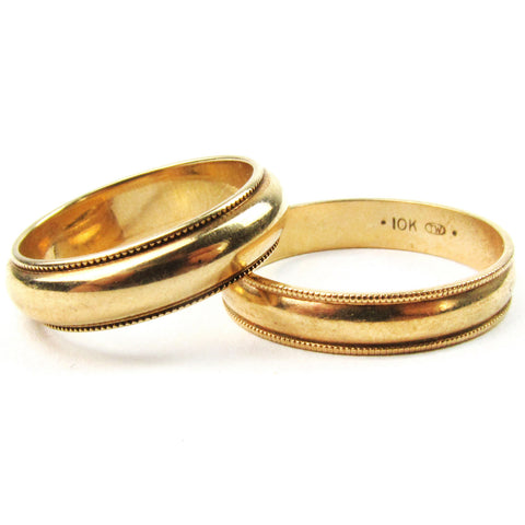 His & Hers Gold Matched Wedding Set