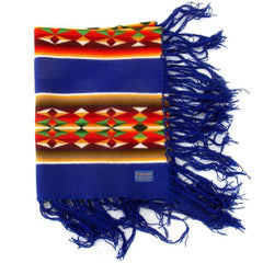 Royal Blue Child's Pendleton Dance Shawl Blanket w/ Fringe