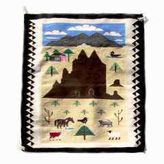 SOLD Pictorial Navajo Rug of Mountain Farm