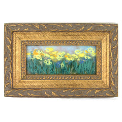 """Yellow Flower"" Enamel on Copper Petit Painting Dixie Rogerson"