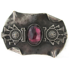 1870s Egyptian Revival Antique Silver Plate Faux-Amethyst Brooch Old C Clasp
