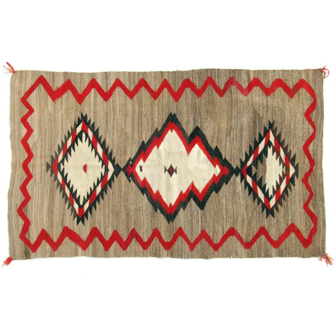 "Antique Red Mesa Navajo Rug 4'9"" x 7'4"" Ranch Rug Red, Grey, Black, White"