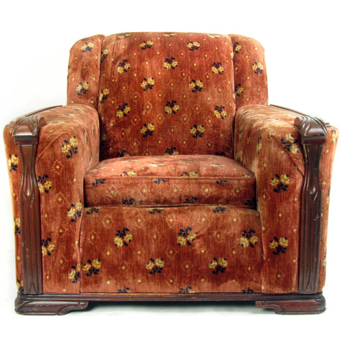 1940s Upholstered Club Chair  w/ Wood Trim