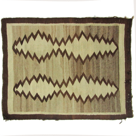 "Antique Homespun Navajo Rug, 3'8"" x 2'10"""