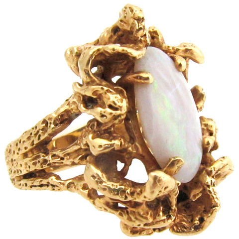 14k Gold & Opal Statement Ring, Size 6.75