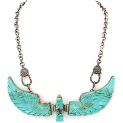 The Woods Diamond Pavé Clasp Necklace w/ Carved Turquoise Eagle Pendant