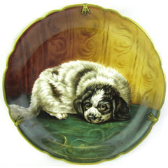 Black & White Laying Puppy Hand-Painted on a Limoges Wall Plate