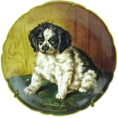 Black & White Puppy Hand-Painted on a Limoges Wall Plate