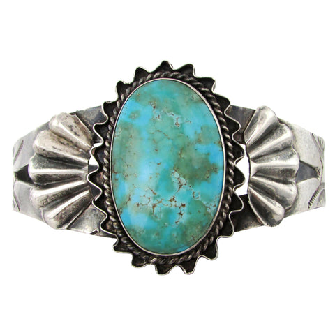 Large Fred Harvey Era Sterling Cuff w/ Turquoise