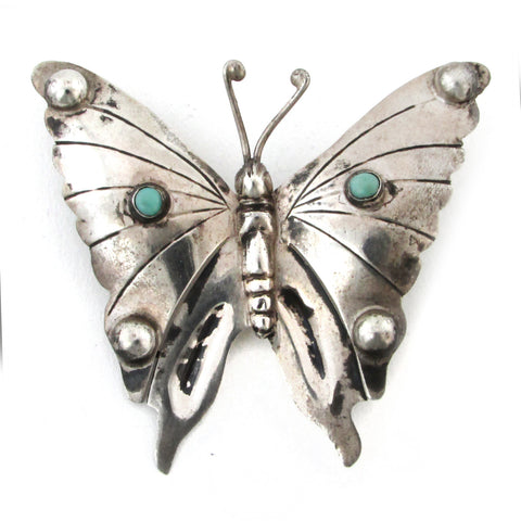 Large Mexican Sterling Silver Butterfly Brooch w/ Turquoise