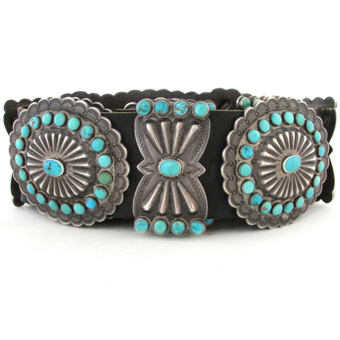 Large Sterling Silver Men's Concho Belt w/ Turquoise & Stamping
