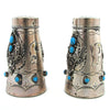 Large Sterling Silver Navajo Salt & Pepper Shakers w/ Turquoise
