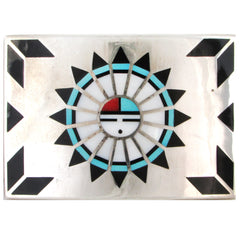 Large Sterling Silver Zuni Inlay Sunface Belt Buckle
