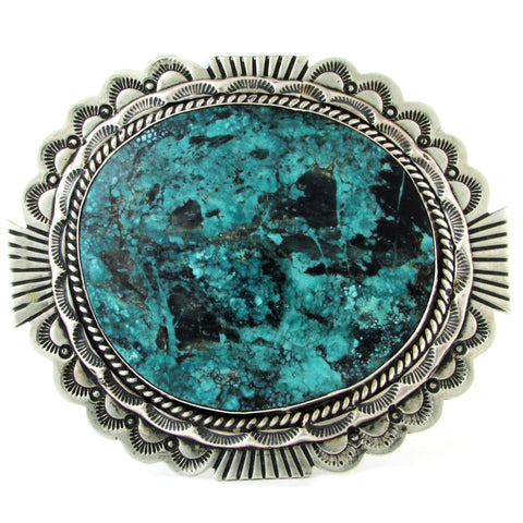 Large Turquoise Belt Buckle w/ Stamping