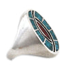 Large Turquoise & Coral Chip-Inlay Signet-Style Ring, Size 12