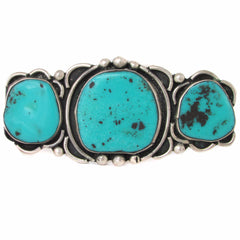 Long Old Pawn Sterling Silver Faux-Turquoise Brooch
