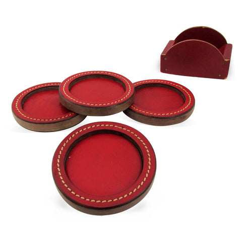 Midcentury Red Leather Coasters w/ Stand, Set of 4