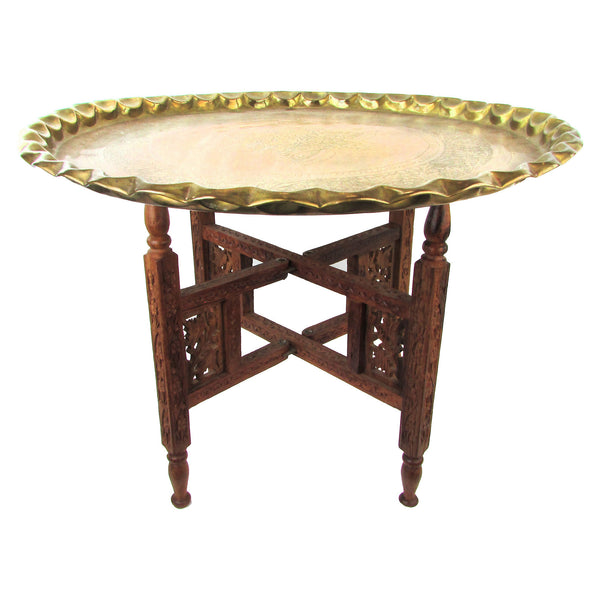 Moroccan Brass Tray Accent Table W/ Carved Wood Base