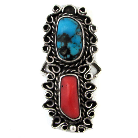Navajo Sterling Silver Turquoise & Coral Ring, Size 6.75