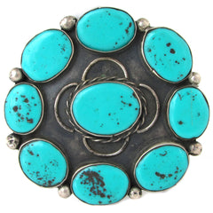 Old Pawn Sterling Silver Faux-Turquoise Brooch