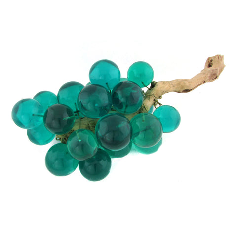 Midcentury Oversize Acrylic Teal Grape Bunch w/ Driftwood Stem