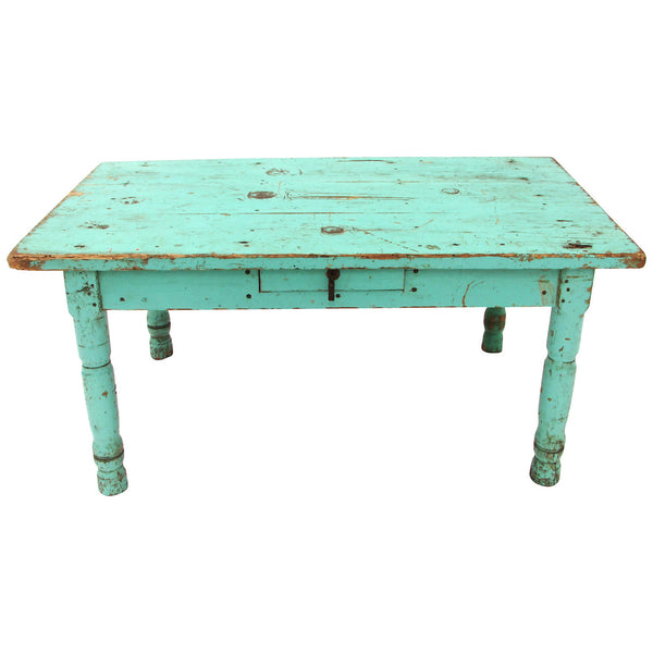 mexican painted furnitureRustic Mexican Turquoise Painted Coffee Table  Ruby  George for