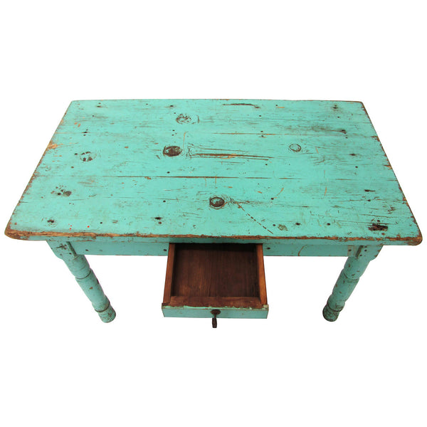 Merveilleux Rustic Mexican Turquoise Painted Coffee Table