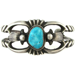 Sandcast-Style Sterling Silver Cuff w/ Turquoise Cabochon