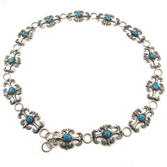 Sandcast-Style Sterling Silver Concho Belt w/ Turquoise