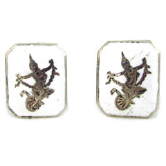 Siam Sterling Cufflinks w/ White Enamel & Goddess