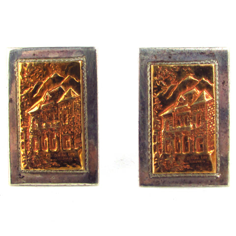 Signed Ricardo Sterling Cufflinks w/ Central City Brass Overlay
