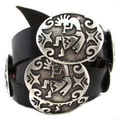 Sterling Silver Concho Belt w/ Kokopelli Overlay Decoration