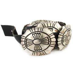 Sterling Silver Concho Belt w/ Sunface Overlay Decoration