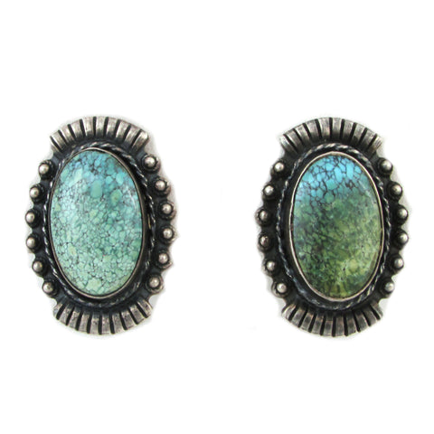 Sterling Silver Fred Harvey Screw-Back Earrings w/ Spiderweb Turquoise