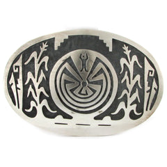 Sterling Silver Hopi Overlay Man in the Maze Belt Buckle