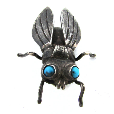 Sterling Silver Navajo Bug Brooch w/ Turquoise Eyes