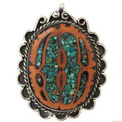 Sterling Silver Pendant w/ Chip-Inlay Turquoise in Walnut